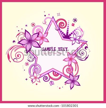 pink and purple stars floral - background - vector