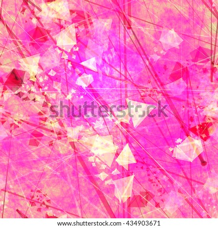 Pink and red. Blur effect and watercolors. Triangular elements, crystals, thin straight lines, scratches, streaks, spots. Randomly mixed. Abstract seamless vector background - stock vector