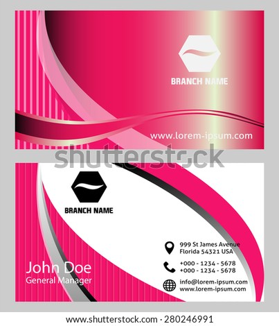Pink and white Business Card Template  - stock vector