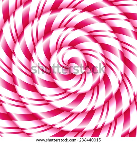 Pink and white candy cane sweet spiral abstract background - stock vector