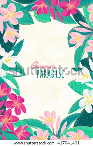 Pink and white frangipani (plumeria) flowers vertical frame. Retro vector illustration. Tropical background. Place for your text. Design for invitation, banner, card, poster, flyer