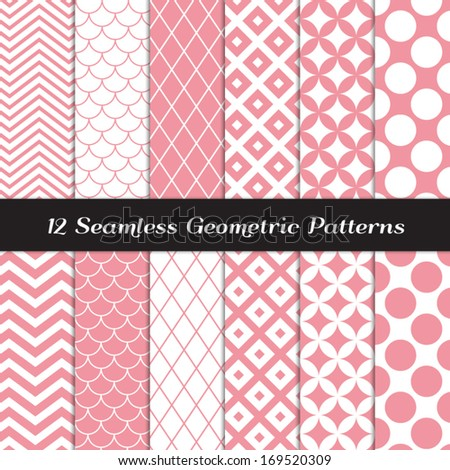 Pink and White Geometric Seamless Patterns. Retro Mod Backgrounds in Jumbo Polka Dot, Diamond Lattice, Scallops, Quatrefoil and Chevron Patterns. Pattern Swatches made with Global Colors.  - stock vector