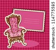 Pink Armchair and picture on checked background - card with empty space for your text - stock vector
