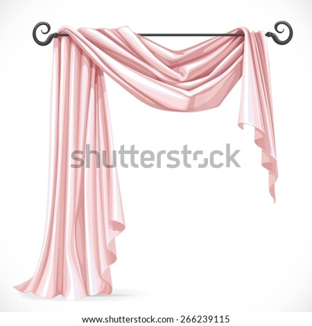 Pink asymmetric curtains on the ledge forged isolated on a white background - stock vector