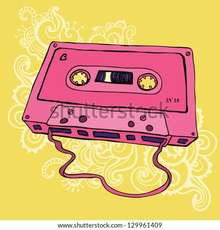 Pink Audio cassette on color background.  Oldschool Vector illustration. Retro cassette tape. - stock vector