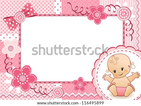Pink baby frame. Vector illustration. - stock vector