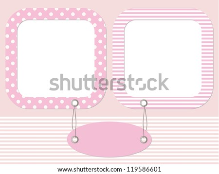 Pink baby photo frame with name tag - stock vector