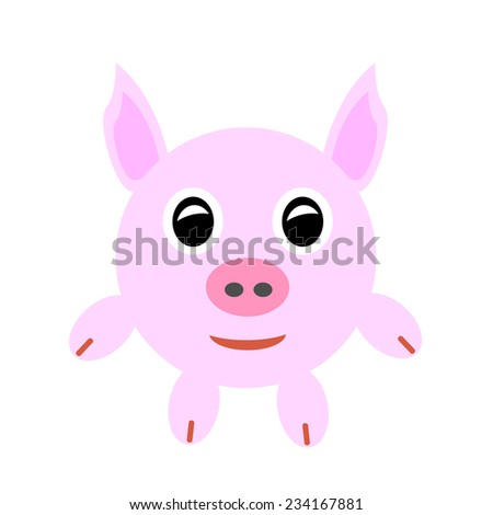 Pink baby pig isolated on white. Vector illustration. - stock vector