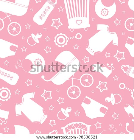 Pink baby shower seamless background - stock vector