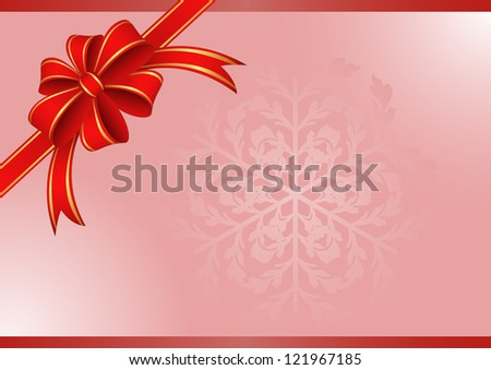 pink background with a red ribbon for gifts - stock vector