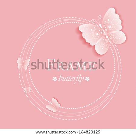 Pink background with butterflies on the frame - stock vector