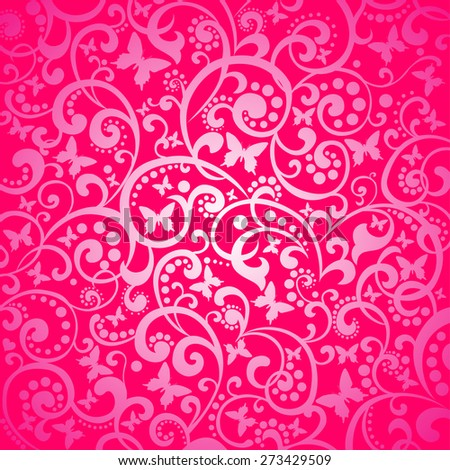 Pink background with butterflies. Vector illustration - stock vector