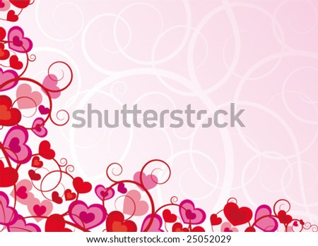 Pink background with heart - stock vector