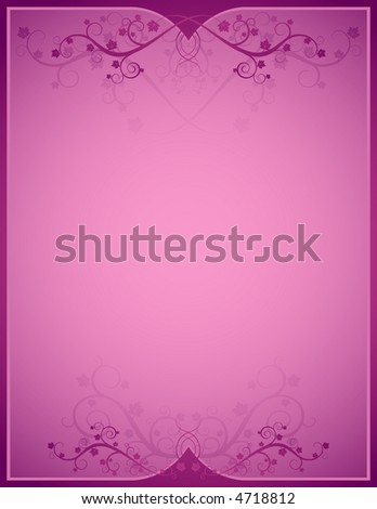 pink background  with lovely squiggles with leaves - stock vector
