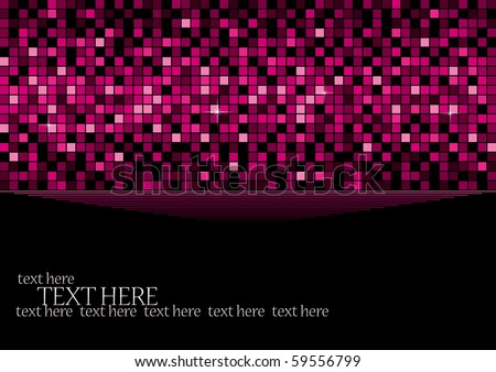 Pink background with retro elements of disco ball, vector illustration - stock vector