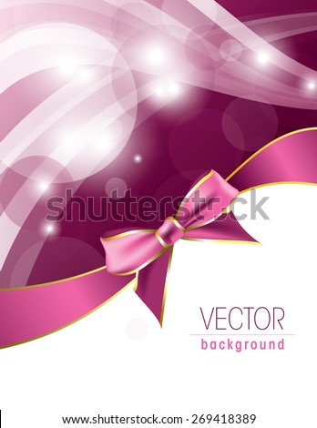 Pink background with sparkles and a bow. - stock vector