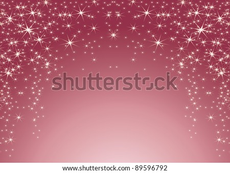 pink background with stars. Christmas theme - stock vector