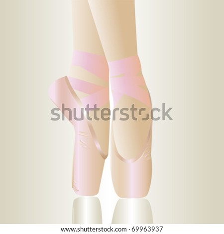 pink ballet shoes over grey background - stock vector