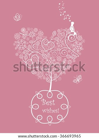Pink beautiful wedding card with lacy tree - stock vector