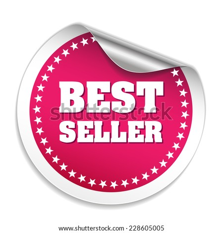 Pink best seller sticker with metallic peel on white background - stock vector