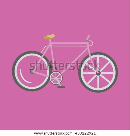 pink bike - stock vector