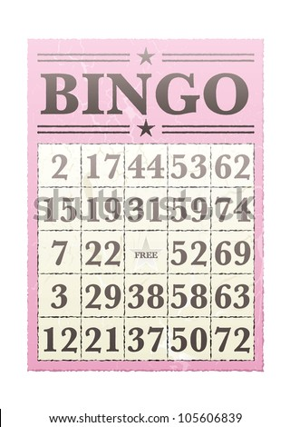 Pink bingo card with randon numbers and retro style - stock vector