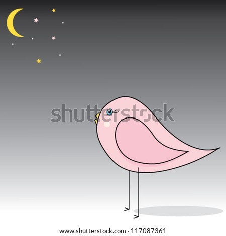 Pink Bird - stock vector