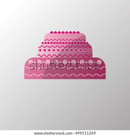 pink birthday cake , vector