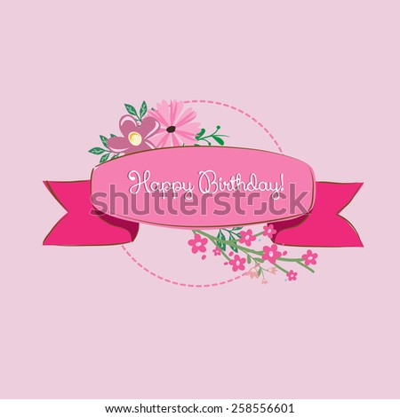 Pink Birthday card with cute flowers - stock vector