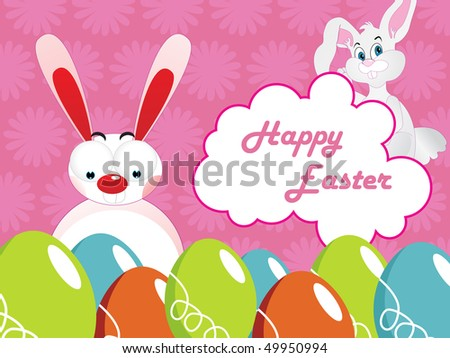 pink blossom background with colorful egg and rabbit