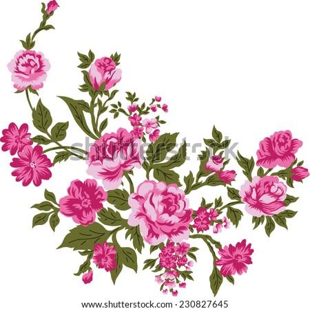 Pink bouquet.Vector background. - stock vector