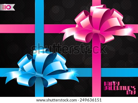 Pink bow and blue bow on a black background
