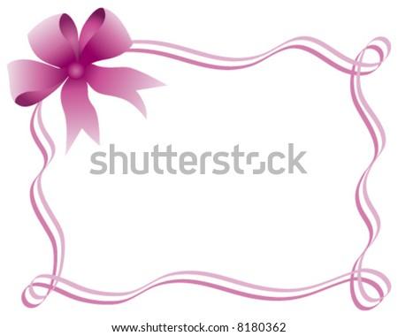 Pink bow and ribbon border - stock vector