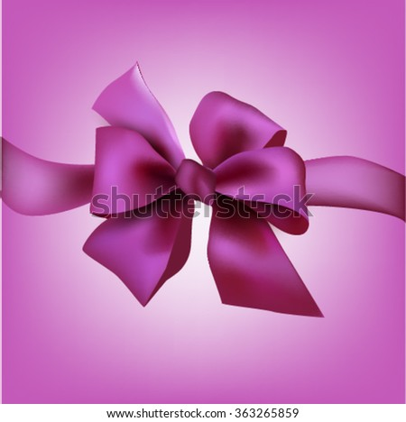 pink bow with a ribbon for a gift or greeting card