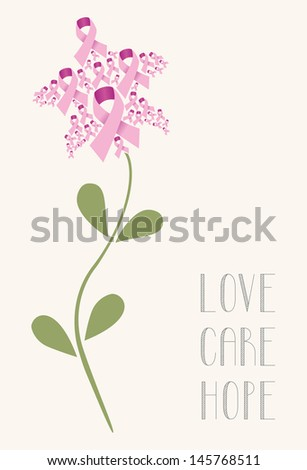 Pink breast cancer ribbon concept flower. Vector illustration layered for easy manipulation and custom coloring. - stock vector