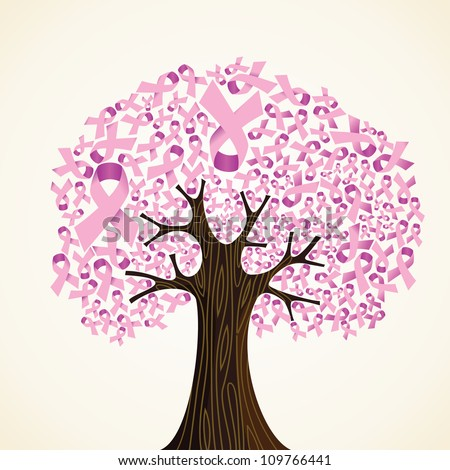 Pink breast cancer ribbon concept tree. Vector illustration layered for easy manipulation and custom coloring. - stock vector