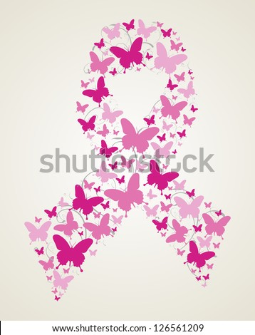 Pink butterflies in breast cancer awareness ribbon symbol. Vector file layered for easy manipulation and custom coloring. - stock vector