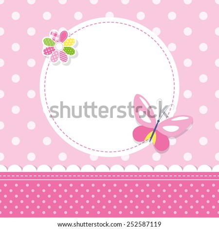 pink butterfly baby girl greeting card - stock vector