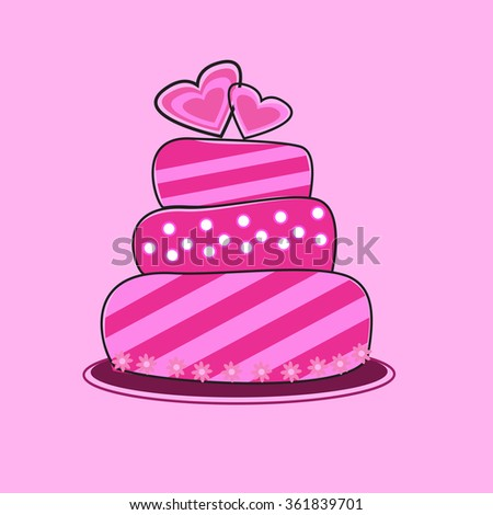 pink Cake valentine and Wedding