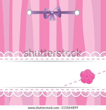 pink card with laces, flower and ribbon - stock vector