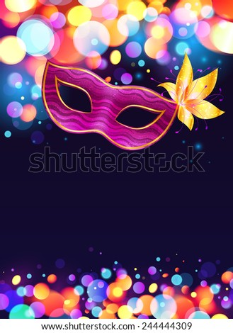 Pink carnival mask and bokeh lights dark blue vector poster background - stock vector
