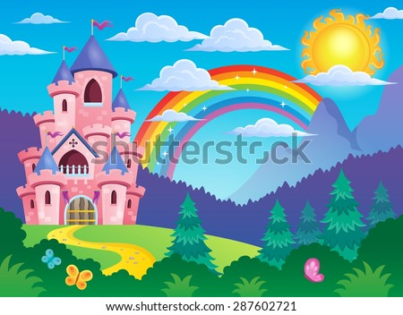 Pink castle theme image 4 - eps10 vector illustration. - stock vector