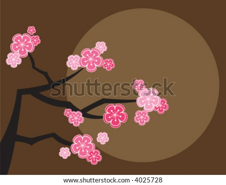 pink cherry blossoms and moon on brown (vector) - illustrated background