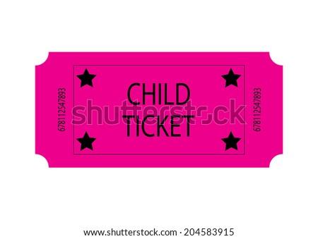 Pink Child Ticket. Vector - stock vector