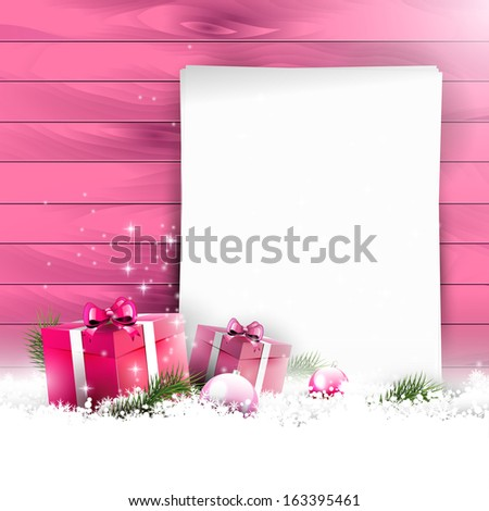 Pink Christmas background with empty paper and gift boxes in snow on wooden background - stock vector