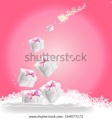 pink christmas background with gifts, stars, Santa and reindeer