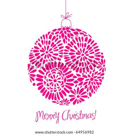 Pink Christmas ball illustration. - stock vector