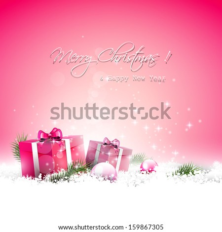 Pink Christmas greeting card with gift boxes and branches in snow - stock vector