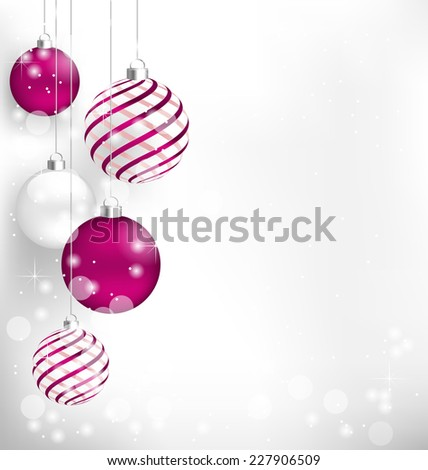 Pink Christmas spiral balls hang in snowfall - stock vector