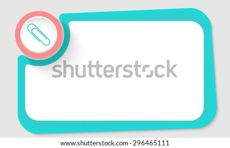 Pink circle and paper clip and green frame for your text - stock vector